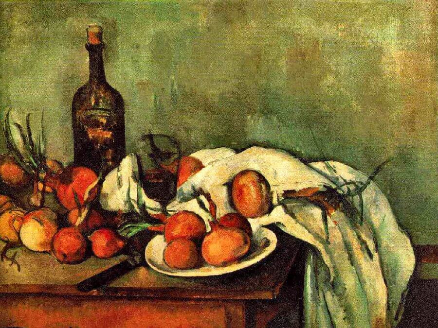 Still Life with Onions and Bottle, 1895-1900 by Paul Cezanne